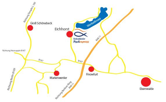 Anfahrt Schorfheider Fischexpress Eichhorst